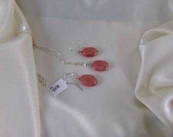 Rhodochrosite ovals sterling silver set gemstone handmade  MLMR item 760