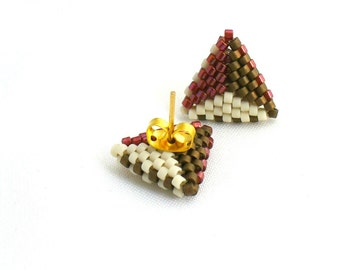 Triangle Post Earings, Tricolor Earrings, Dainty Stud Earings, Geometric Earrings, Earth Tone Earstuds, Beadwork Triangles - Made in Germany