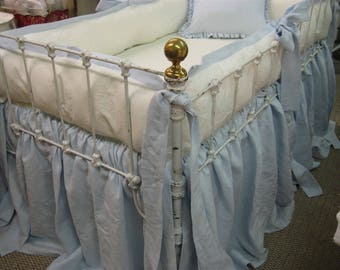 Washed Linen Crib Bedding-Tailored Crib Bumpers with Sash Ties-Gathered Crib Skirt-Ruffled Crib Pillow-Vintage White and Baby Blue-Nursery