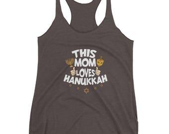 This Mom Mother Loves Hanukkah Jewish Hebrew Chanukah Tank