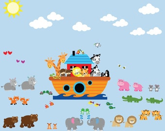Noahs Ark Decal - Reusable FABRIC Decal, Peel and Stick Non-toxic, Pvc Free JUMBO SIZE