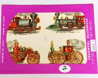 Train Decals Stickers, Vintage Meyercord Decals, Train Decor, NOS Unopened, Steam Engine Party