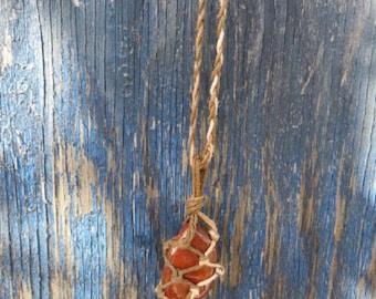 Red Jasper Hemp Wrapped Macrame Necklace
