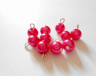 Bright Pink Glass Pearl Dangle Beads