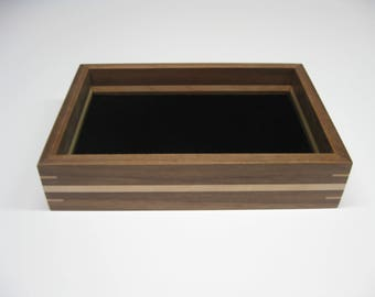 Wood Valet Tray, Valet Box made from Black Walnut with Maple splines and stripe  #209