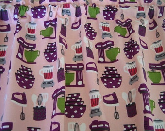"""Kitchen Appliances and Utensils Curtain Valance 41"""" wide x 15"""" long/height in 100% Cotton - Handmade New."""