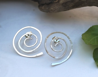 Large Round Spiral Silver post earrings