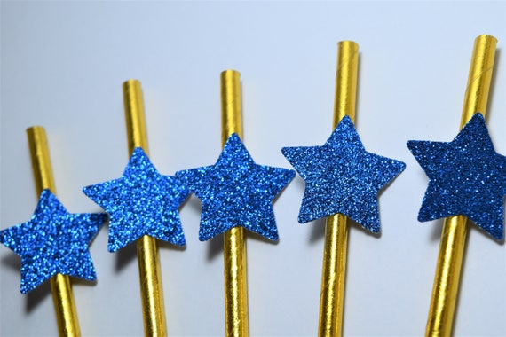 Blue And Gold Star Straws Twinkle Twinkle Little Star Decorations
