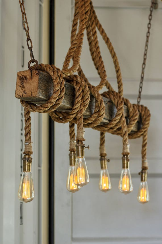 The Ahab 6 Industrial Rope Light Barn Beam Pendant Wood