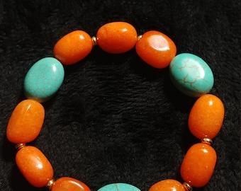Carnelian and Howlite Stretch Bracelet