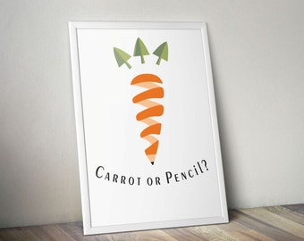 Carrot watercolors, Carrot wall decor, vegetable wall decor