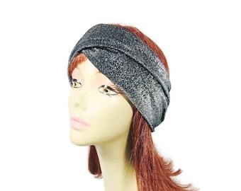 Sparkle Headwrap Turban Headwrap Metallic Silver Head Wrap Wide Silver Headband Flapper Headwrap Silver Turban CUSTOM SIZES/Free Shipping