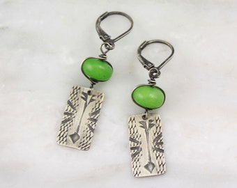 Olivine Jade and Stamped Silver Rustic Arrow Earrings