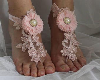 wedding shoes, summer shoes, beach shoes,barefoot sandals,Beaded,pink  lace  shoes, wedding sandals,bridal accessories, N-17A