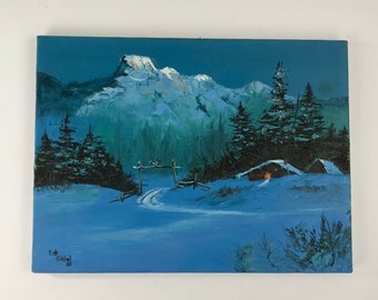Vintage Landscape Oil or Acrylic Painting on Canvas 1985 Signed by Artist, Winter Scene, Mountain Cabin Wilderness Art, Nature Wall Art