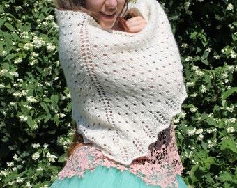 Faeries tenderness - Knitted Shawl From Handspun Soft Merino Wool - Soft Warm Knit Elegant Piece - FREE SHIPPING WORLDWIDE!