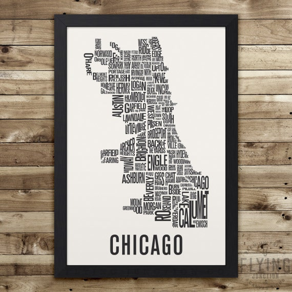 Beau CHICAGO Neighborhood Map Print, Chicago Wall Art, Chicago Typography Map,  Chicago Gift