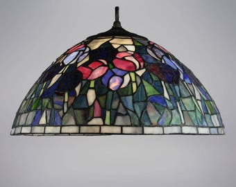 Stained glass lamp shade etsy tulips flowered tiffany style stained glass lamp shade aloadofball Gallery