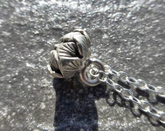 Small Open Lotus Flower Bud Pendant With 925 Sterling Silver Chain Necklace - Karen Hill Tribe Fine Silver - Zen - Ethnic - Boho - Tribal