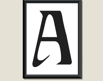 Typography DIGITAL PRINT Monogram Initial Wall Art Ariosto Letter A 5x7