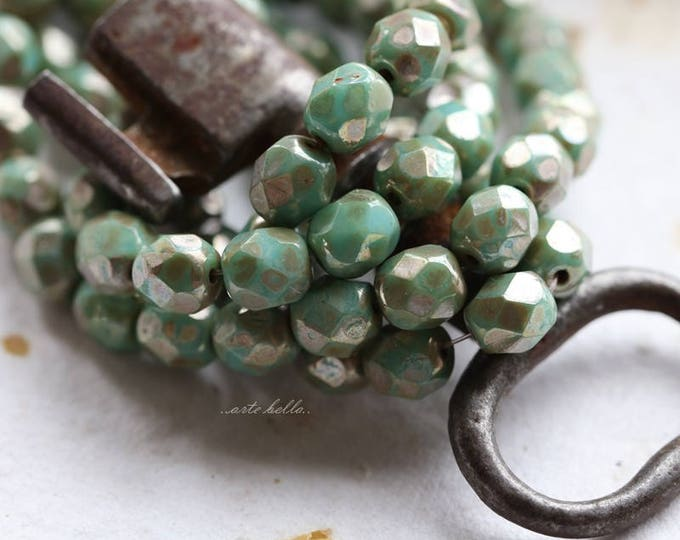 TURQUOISE MAGIC No. 3 .. 25 Premium Picasso Czech Glass Beads 6mm (5799-st)