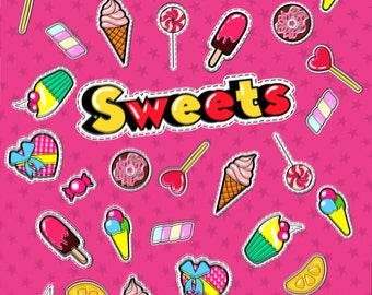 Candy & Sweets Printed Backdrop (WED-VS-024)