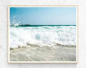Beach Art Print, Coastal Photography, Water,  Waves, Modern Minimalist, Large Poster, Nautical Coastal Decor, Printable Digital Download