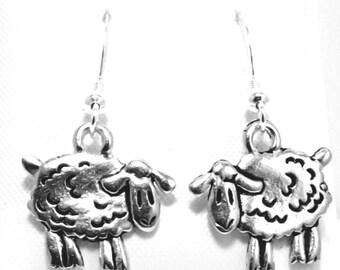 Sterling Silver White Sheep Dangle Earrings wJO7HmJ