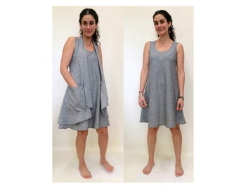 Tunic Dress with Apron VEST Hemp Organic Cotton Light Weave - S,M,L, XL