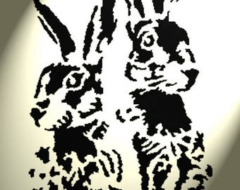 Shabby Chic Stencil Artistic 2 Hare faces Rabbit Rustic A4 297x210mm wall