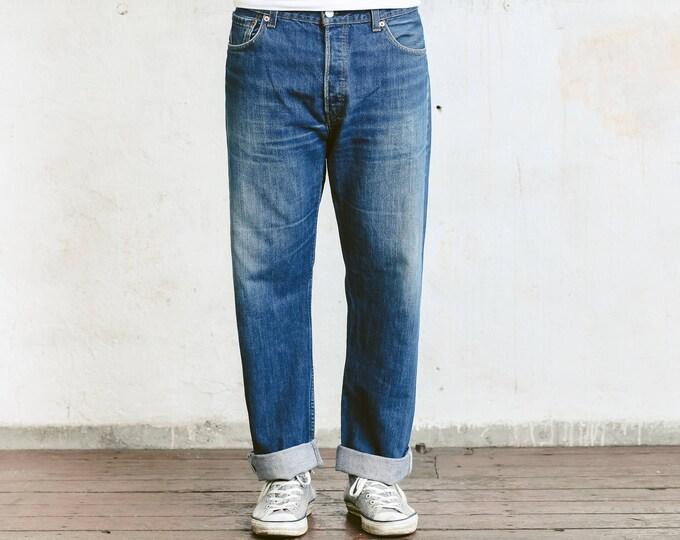 Vintage Levis 501 xx Jeans . Mens Wide Leg 90s Denim Pants 90s High Waist Jeans Blue 90s Jeans Distressed Levis Jeans Dad Jeans . size W36