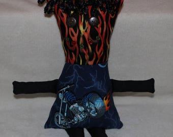 Creepy Cute Black Blue Flames & Motorcycle Plush Rag Pillow Doll New