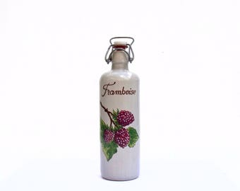 French Vintage Framboise Raspberry stoneware Bottle complete with stopper & rubber seal