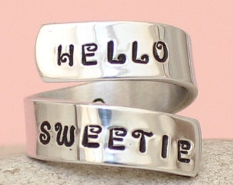 Hello Sweetie - Doctor Who - Tardis - Wrap Ring - Personalized Ring - Silver