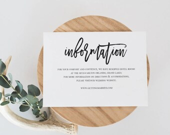 Wedding Information Card Template Wedding Details Card Template Details Card Printable Details Card Modern Calligraphy Details Card