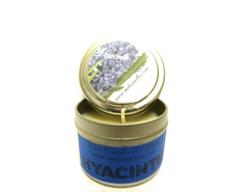 Hyacinth - 4 ounce soy tin candle take it anywhere! Approximate Burn Time 36 Hours
