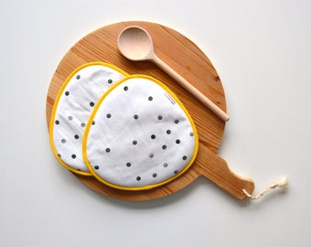black white yellow potholders - modern fabric kitchen potholders - fun and unique mothersday gift - one of a kind bright rounded trivets