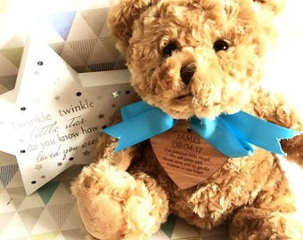 Personalised wooden heart teddy bear christening birth funeral birthday gift