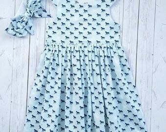 Tea party dress-scoop back dress-derby-horse- spring-summer dress for Girl's
