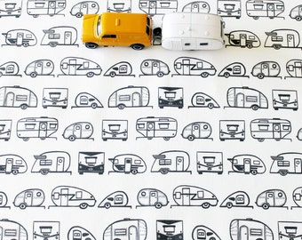 Travel Trailer Cotton Fabric / Camper Fabric / Teardrop Trailer / Retro Fabric / Fabric by the Yard / Black and White
