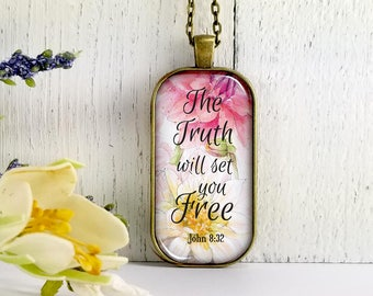 The Truth Will Set You Free-Large Rectangular- Glass Bubble Pendant Necklace