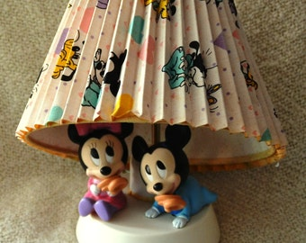 """Baby Mickey & Minnie LAMP and NIGHT LIGHT, with Pleated Shade, decorated with adorable Disney Characters.  Excellent Vintage"""" 1964 """"Cond."""