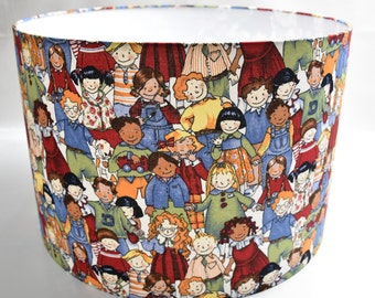 Lampshade cylinder 'Children of the world'