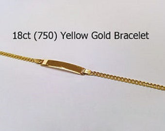 18ct 750 Genuine Yellow Gold Bracelet + ID Name Plate Engrave Bracelet NEW