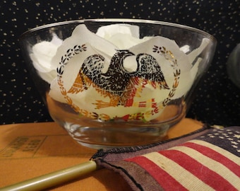 Gold Federal Eagle Glassware Bowls Patriotic Party Bowls