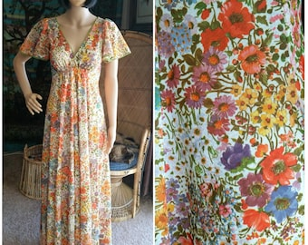 60's Flowers For Hours Maxi Dress, Floral Maxi Dress, Spring Dress, Spring Maxi Dress, Handmade Vintage Maxi Dress, Flutter Sleeve, SM