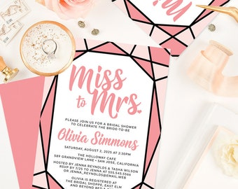 Modern Miss to Mrs. Bridal Shower Invitations - Printed Bridal Shower Invitations - Pink Gem Bridal Shower Invitations