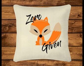 Zero FOX Given - Burlap-look Canvas Pillow Cover, Throw Pillow, Custom Pillow, Pillow Case, Home Decor, Wedding, Housewarming, Home Gifts
