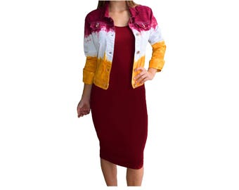 Deep Red + Bright Gold Tie Dye Jacket