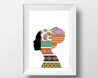 African wall art, African woman, poster, modern home decor, gifts for her, contemporary art, feminine art, African decor, office wall art